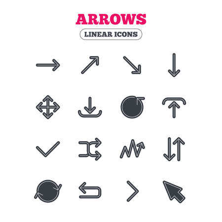 check icon: Arrows line icons. Download, upload, check or tick symbols. Refresh, fullscreen and shuffle thin outline signs. Line icon with black border. Vector