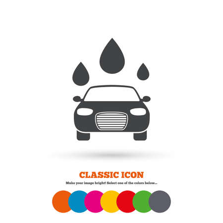 automated teller: Car wash icon. Automated teller carwash symbol. Water drops signs. Classic flat icon. Colored circles. Vector Illustration