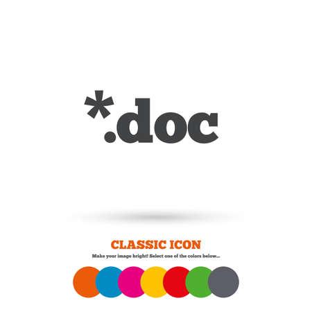doc: File document icon. Download doc button. Doc file extension symbol. Classic flat icon. Colored circles. Vector Illustration