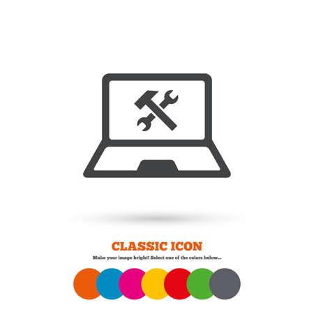 laptop repair: Port�til icono de signo de reparaci�n. Notebook s�mbolo servicio soluci�n. Icono plana Classic. C�rculos coloreados. Vector Vectores
