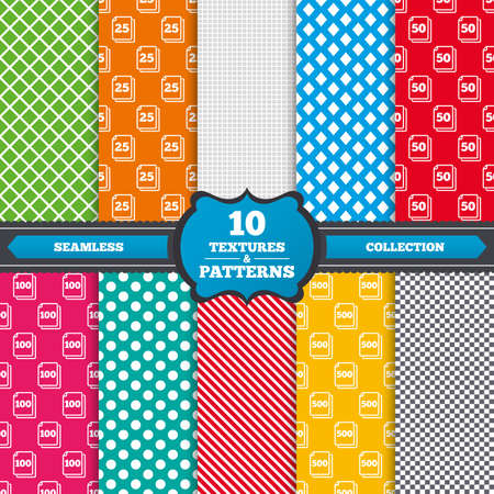 quantity: Seamless textures. In pack sheets icons. Quantity per package symbols. 25, 50, 100 and 500 paper units in the pack signs. Endless patterns with circles, diagonal lines, chess cell. Vector