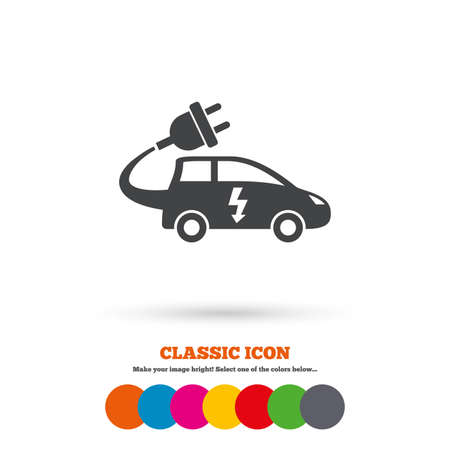 electric vehicle: Electric car sign icon. Hatchback symbol. Electric vehicle transport. Classic flat icon. Colored circles. Vector