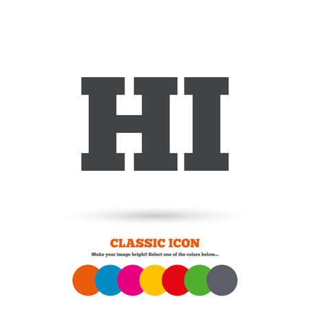 hindi: Hindi language sign icon. HI India translation symbol. Classic flat icon. Colored circles. Vector