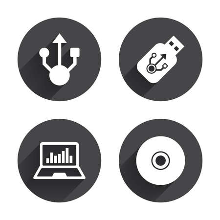 ultrabook: Usb flash drive icons. Notebook or Laptop pc symbols. CD or DVD sign. Compact disc. Circles buttons with long flat shadow. Vector