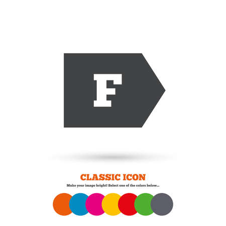 消費: エネルギー効率クラス F の記号のアイコン。エネルギー消費のシンボル。古典的なフラット アイコン。色のついた丸。ベクトル