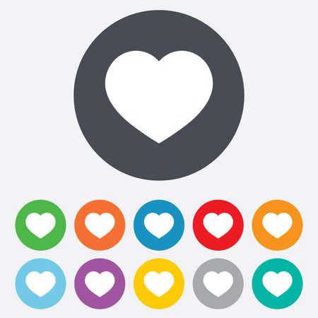 cuore: Amore icona. Cuore segno simbolo. Rotondi variopinti 11 pulsanti. Vettore Vettoriali