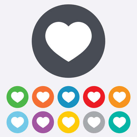 round icons: Love icon. Heart sign symbol. Round colourful 11 buttons. Vector Illustration