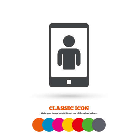 video call: Video call sign icon. Smartphone symbol. Classic flat icon. Colored circles. Vector