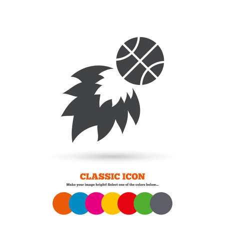 fireball: Basketball fireball sign icon. Sport symbol. Classic flat icon. Colored circles. Vector