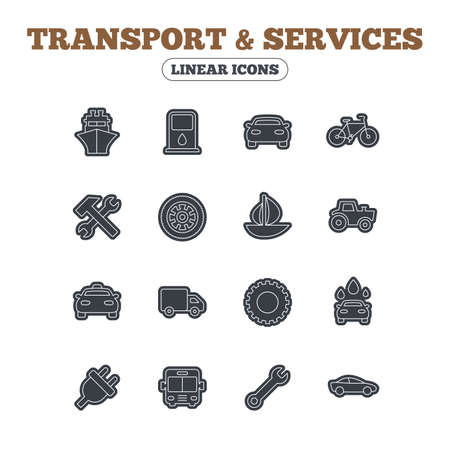 public services: Transport and services icons. Ship, car and public bus, taxi. Repair hammer and wrench key, wheel and cogwheel. Sailboat and bicycle. Line icon with black border. Vector Illustration