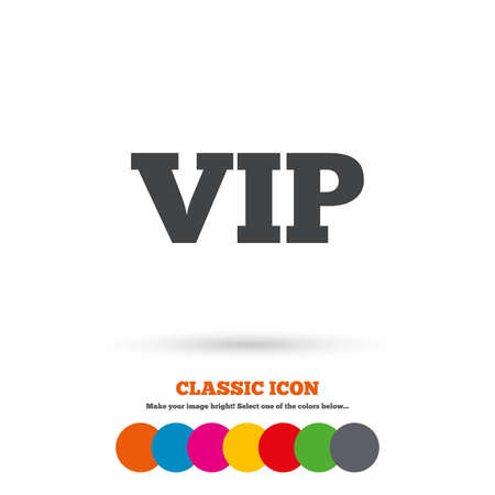 very important person sign: Vip sign icon. Membership symbol. Very important person. Classic flat icon. Colored circles. Vector