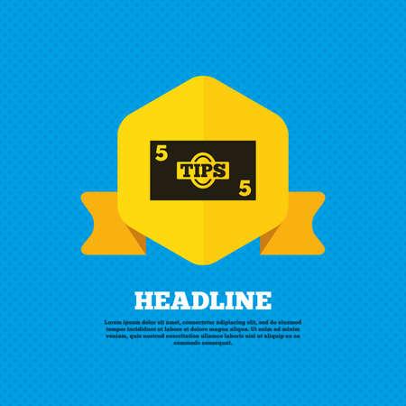 cash money: Consejos icono de la muestra. Efectivo el símbolo de dinero. Papel moneda. etiqueta de la etiqueta amarilla. Círculos patrón transparente en la parte posterior. Vector