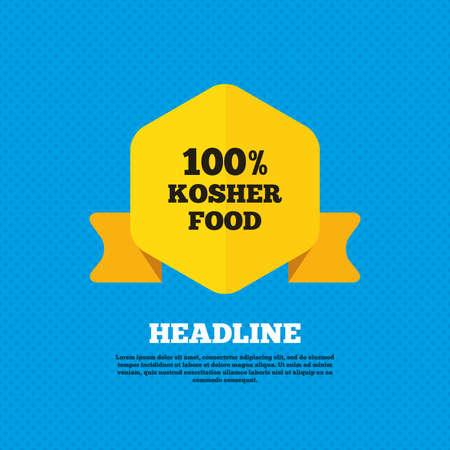 yiddish: 100% cibo kosher segno prodotto icona. Naturale ebraica simbolo cibo. Tag etichetta gialla. Circoli senza soluzione di modello sul retro. Vettore