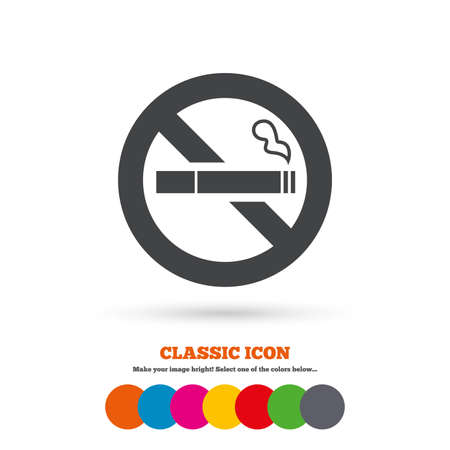 smoking cigarette: No Smoking sign icon. Quit smoking. Cigarette symbol. Classic flat icon. Colored circles. Vector