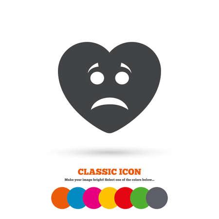 sad heart: Sad heart face sign icon Illustration