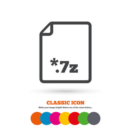file extension: Archive file icon. 7z zipped file extension symbol