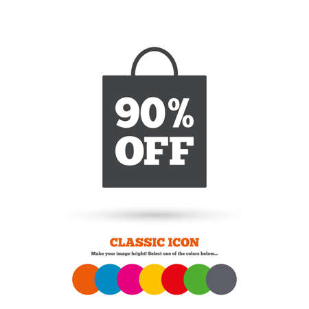 90: 90% sale bag tag sign icon