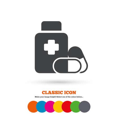 pills bottle: Medical pills bottle with cross sign icon Illustration