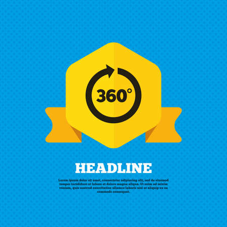 math icon: Angle 360 degrees sign icon. Geometry math symbol. Full rotation. Yellow label tag. Circles seamless pattern on back. Vector Illustration