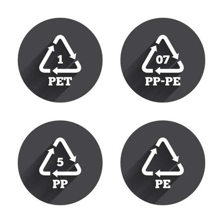 black pete: PET 1, PP-pe 07, PP 5 and PE icons