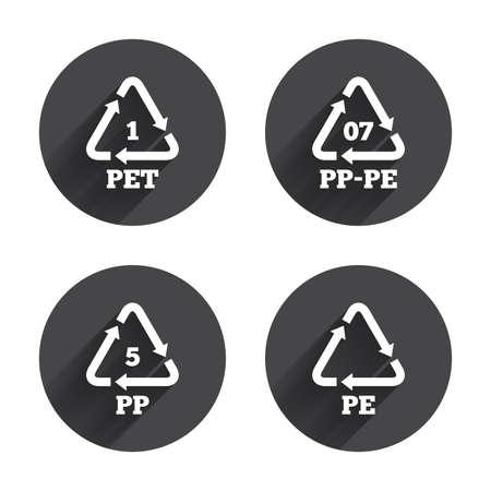 PET 1, PP-pe 07, PP 5 en PE iconen