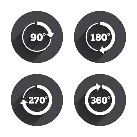 Hoek 45-360 graden cirkel pictogrammen Stock Illustratie