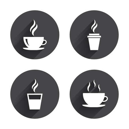 take out: Coffee cup icon. Hot drinks glasses symbols. Take away or take-out tea beverage signs. Circles buttons with long flat shadow