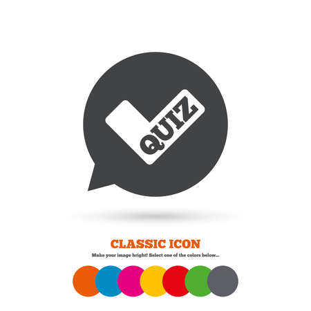 kwis: Quiz check in tekstballon teken icoon Stock Illustratie