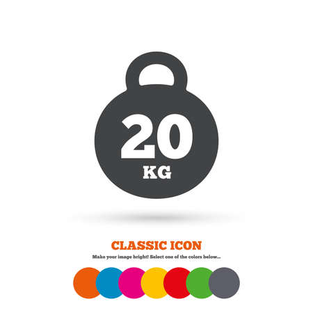 kg: Weight sign icon. 20 kilogram (kg) Illustration