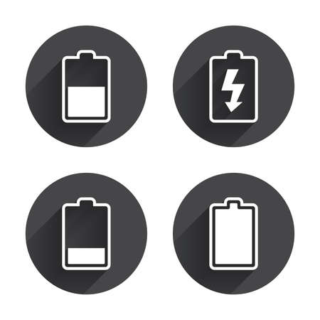 half full: Battery charging icons. Electricity signs symbols. Charge levels: full, half and low. Circles buttons with long flat shadow Illustration