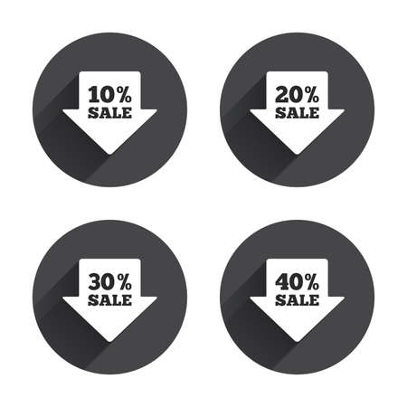 20 30: Sale arrow tag icons. Discount special offer symbols. 10%, 20%, 30% and 40% percent sale signs