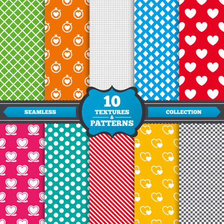 palpitation: Seamless textures. Heart ribbon icon. Timer stopwatch symbol. Love and Heartbeat palpitation signs. Endless patterns with circles, diagonal lines, chess cell. Vector Illustration