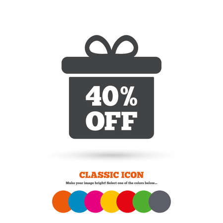 40: 40% sale gift box tag sign icon
