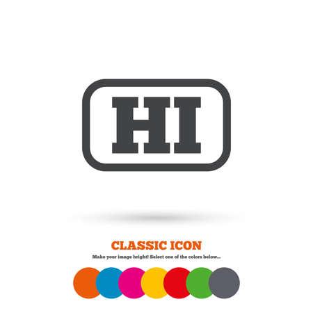 hindi: Hindi language sign icon. HI India translation symbol with frame