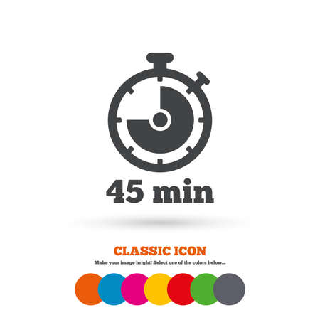 minutes: Timer sign icon. 45 minutes stopwatch symbol