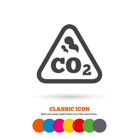caution chemistry: CO2 carbon dioxide formula sign icon Illustration