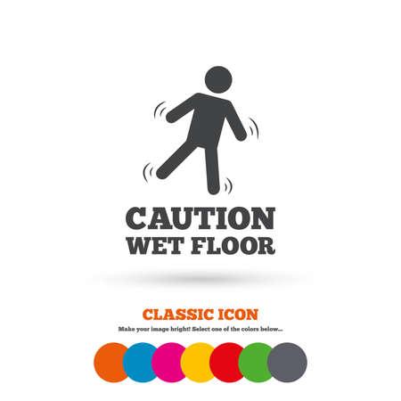wet floor caution sign: Precauci�n icono de se�alizaci�n en el suelo h�medo Vectores