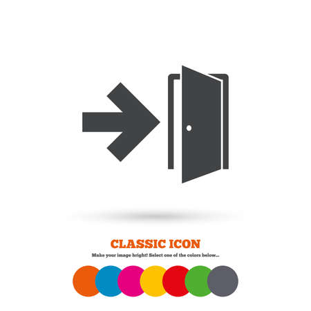 exit sign icon: Emergency exit sign icon Illustration