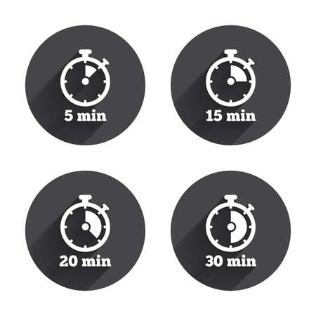 Timer icons. 5, 15, 20 and 30 minutes stopwatch symbols