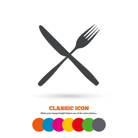 crosswise: Eat sign icon. Cutlery symbol. Fork and knife crosswise Illustration