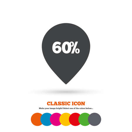 60: 60% sale pointer tag sign icon
