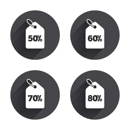60 70: Sale price tag icons. Discount special offer symbols. 50%, 60%, 70% and 80% percent discount signs