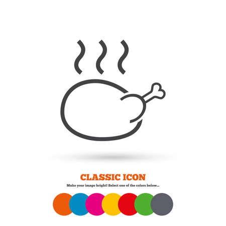 Roast chicken sign icon Illustration