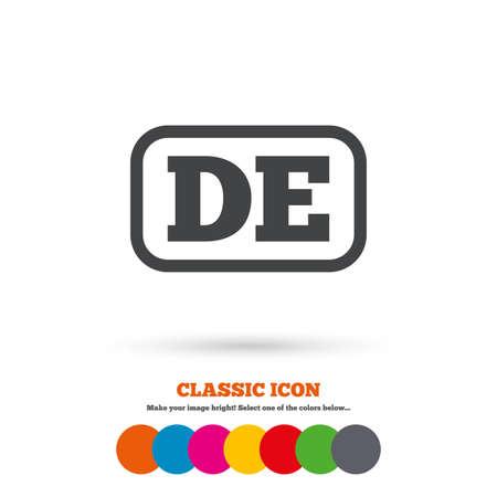 deutschland: German language sign icon. DE Deutschland translation symbol with frame