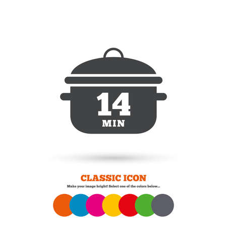 14: Boil 14 minutes. Cooking pan sign icon