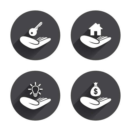 patent key: Helping hands icons. Financial money savings insurance symbol. Home house or real estate and lamp, key signs. Circles buttons with long flat shadow