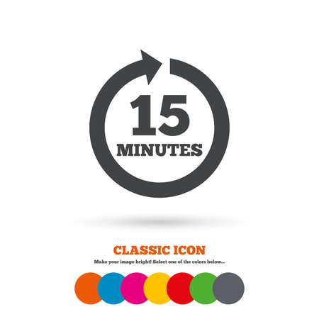 15: Every 15 minutes sign icon
