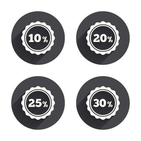 20 to 25: Sale discount icons. Special offer stamp price signs. 10, 20, 25 and 30 percent off reduction symbols. Circles buttons with long flat shadow