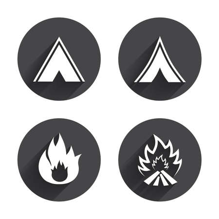 long weekend: Tourist camping tent icons