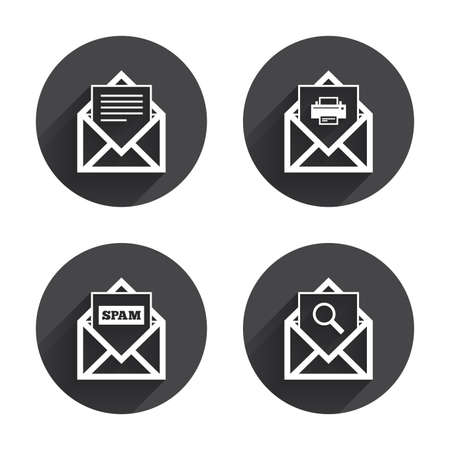 webmail: Mail envelope icons. Print message document symbol. Post office letter signs. Spam mails and search message icons. Circles buttons with long flat shadow Illustration